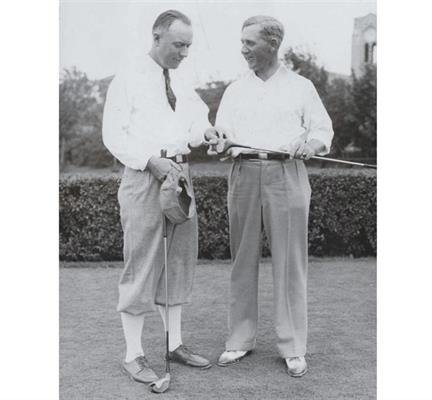 OUR HALL OF FAME MEMBERS: CHICK EVANS, JOCK HUTCHISON: Two of the greatest golfers of the early twentieth century played their golf at Glen View. Chick Evans (l.), winner of 22 tournaments, including the US Amateur and US Open in 1916, established the Evans Scholars Foundation. Jock Hutchison (r.), while head golf professional at Glen View from 1917 through 1953, won four major golf championships including the Open at St. Andrews in 1921.